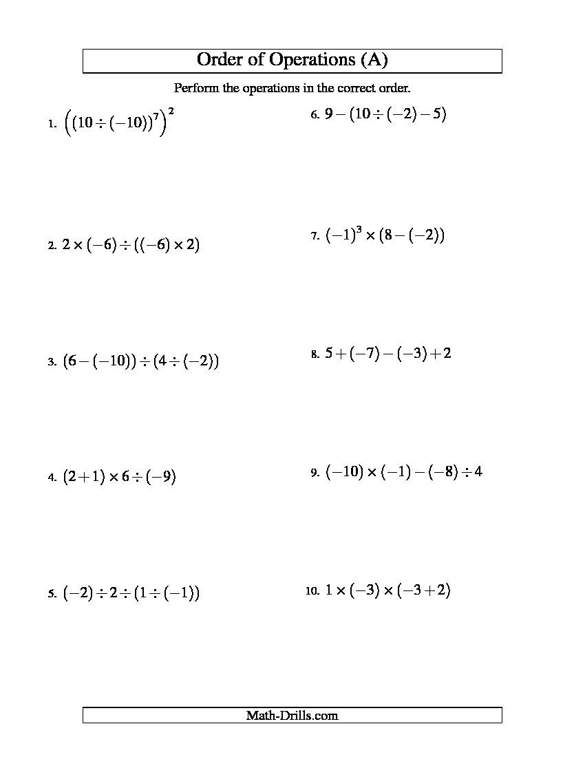 Integers Order Of Operations Three Steps Including Negative