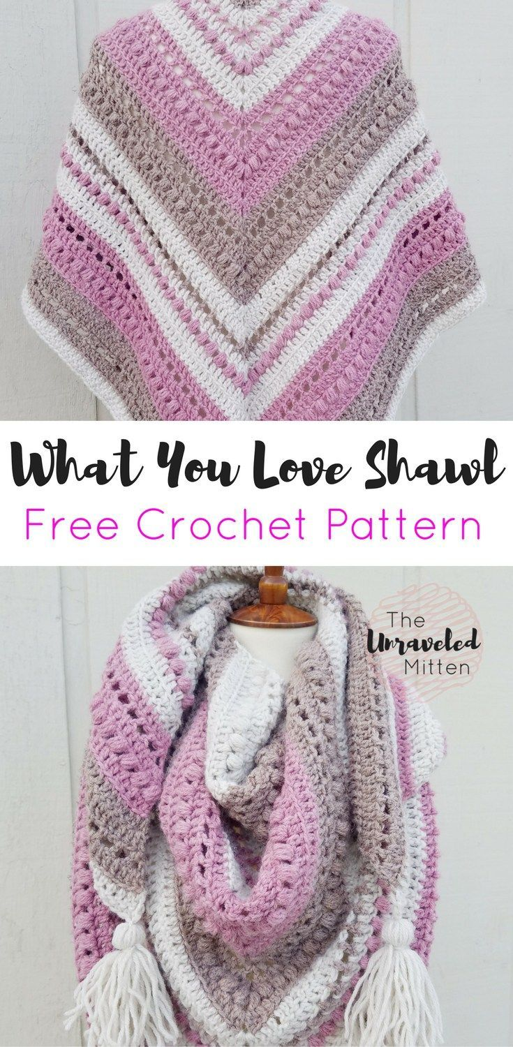 What You Love Shawl Free Crochet Pattern | Triangle scarf, Scarf ...