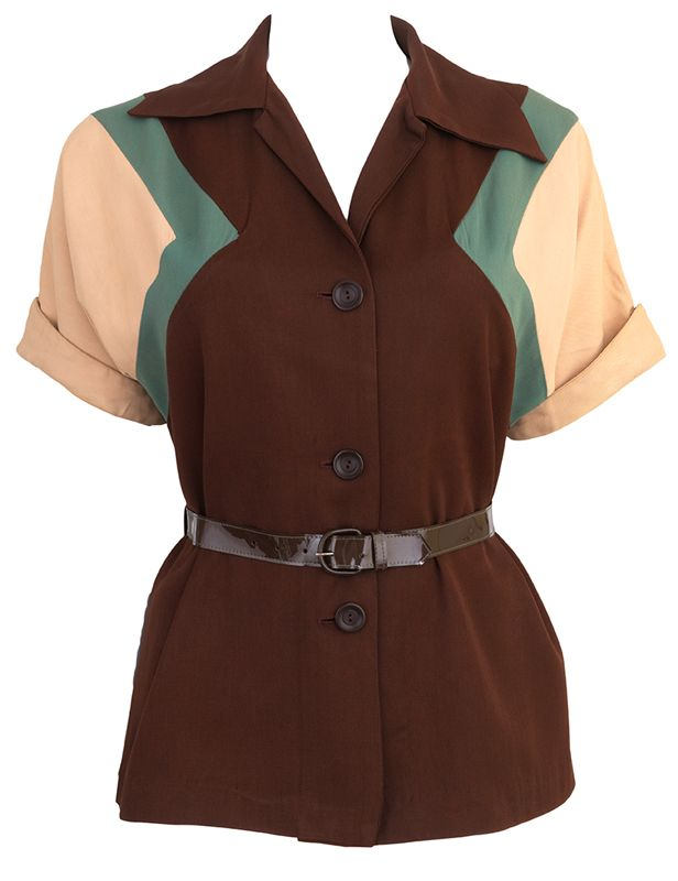 Vintage 1940s Color Block Swag Dress: Stunning Color Block 1940s Gab Blouse In 2019