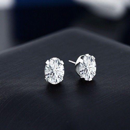 6905f1d55 Oval Cut Diamond 2.00CT In 14K White Gold Over 6 Prong Stud Earrings For  Women's #jewelleryhub #Stud