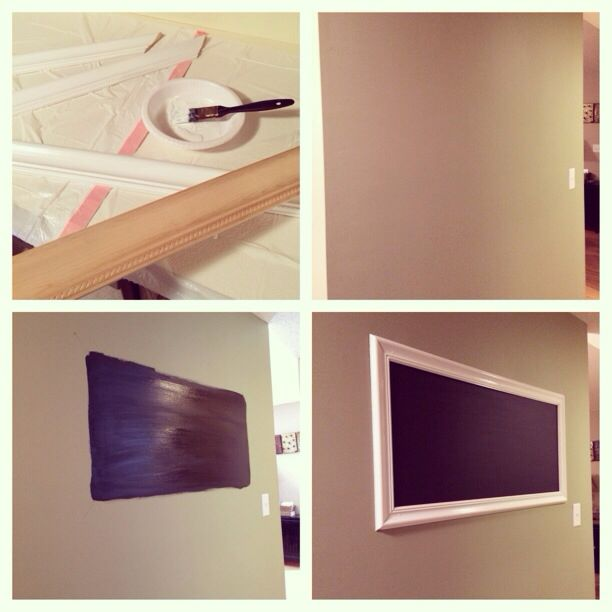 DIY chalkboard frame. Molding from Home Depot cut to size, paint ...