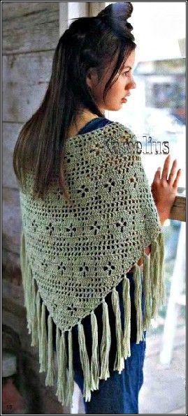 Patrones para Crochet: Chal Crochet Paso a Paso Tutorial   Ponchos ...