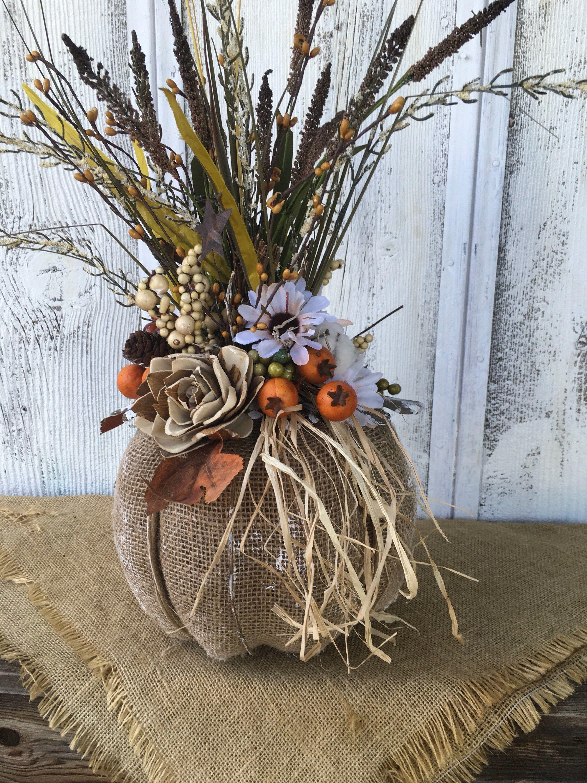Burlap pumpkin fall floral centerpiece thanksgiving