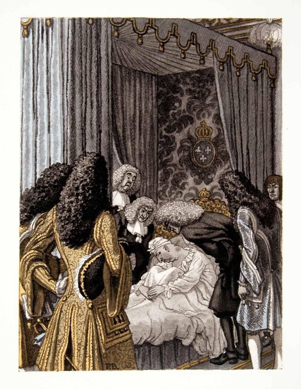 Pierre Brissaud (1885 – 1964). Louis XIV alité. Gravure photolithographique, 1959. [Pinned 5-vii-2015]