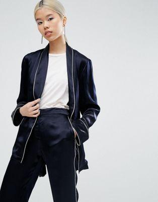 5e03ab271eee Pajama Kimono Blazer With Piping | Loves | Trouser suits, Pajama ...