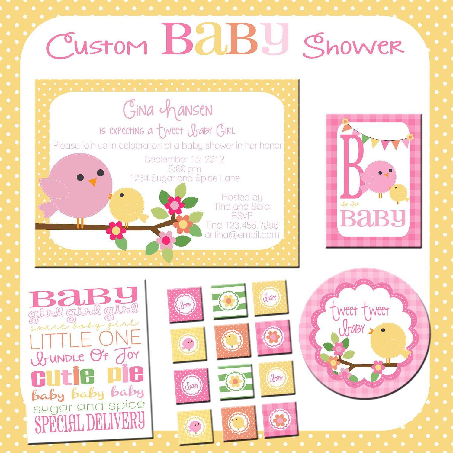 Baby Shower Printable Kit, Custom Birdie Baby Shower Invitations and ...