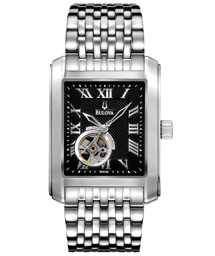 Bulova 96A128 Men's Automatic Open Heart Stainless Steel Black Dial Watch