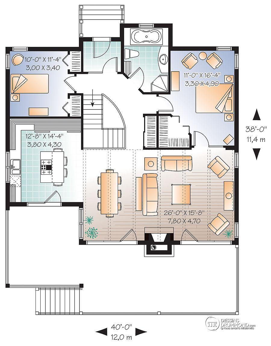 D tail du plan de maison unifamiliale w3941 maisons de for Garage plan de campagne