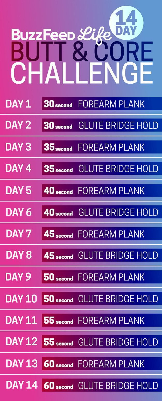BuzzFeed Lifes 14 Day Butt Core Challenge Schedule By