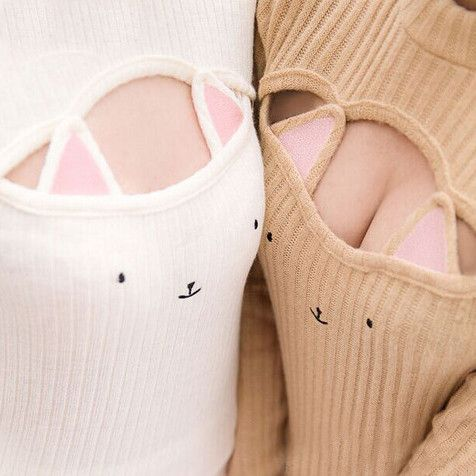 Kawaii Hollow Chest Kitty Cat Keyhole Sweater | Harajuku Tops ...
