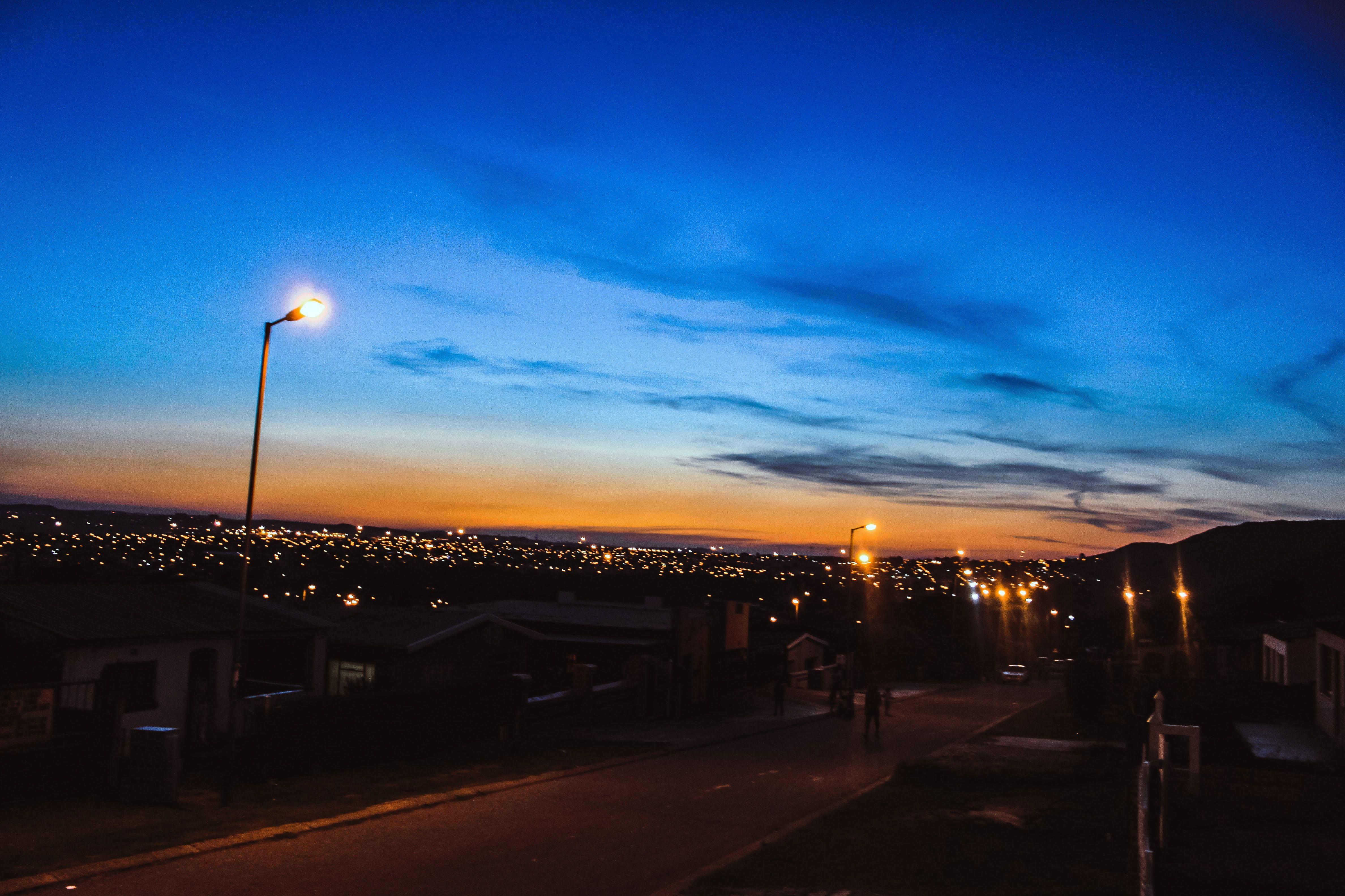 Nature Outdoors Sky Light Posts Turned On Light Posts Turned
