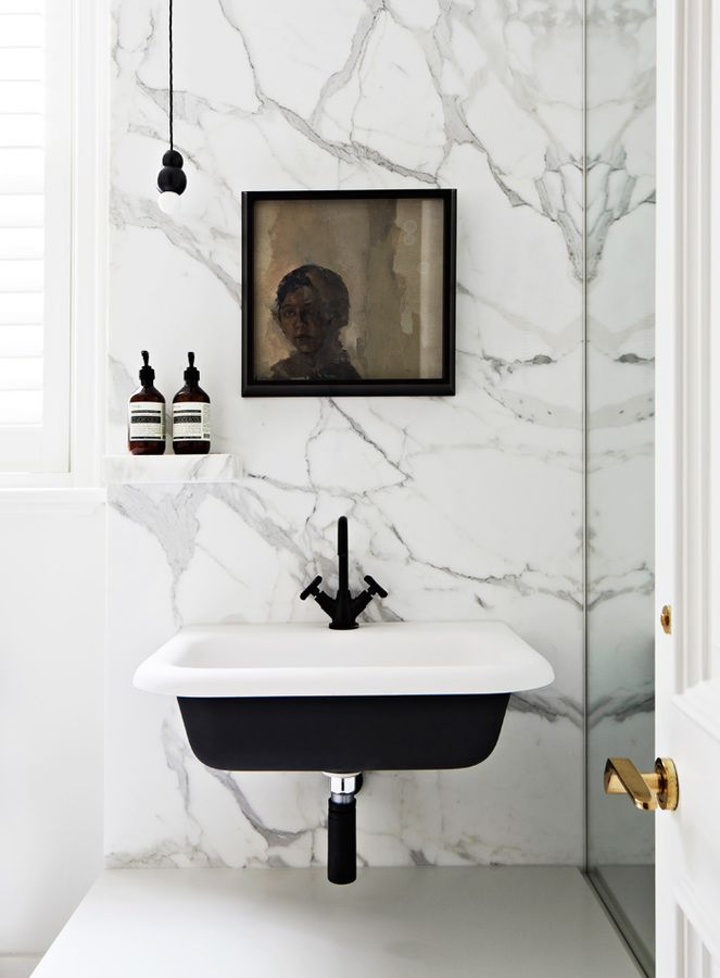 Bathroom White Marble With Black Basis Fixtures Details From Toorak Residence Designed By Hecker Guthrie