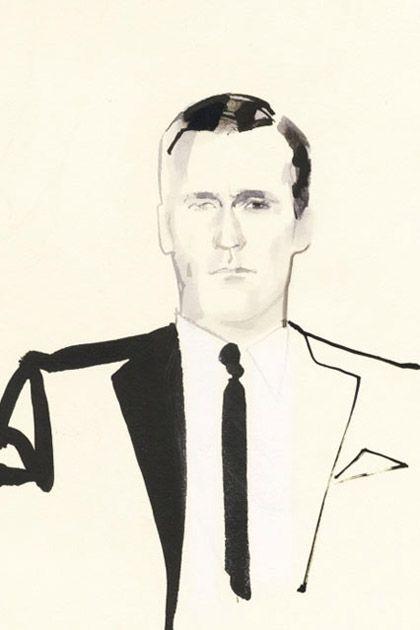 David Downton, fashion illustration, Mad Men, Jon Hamm, Don Draper ...