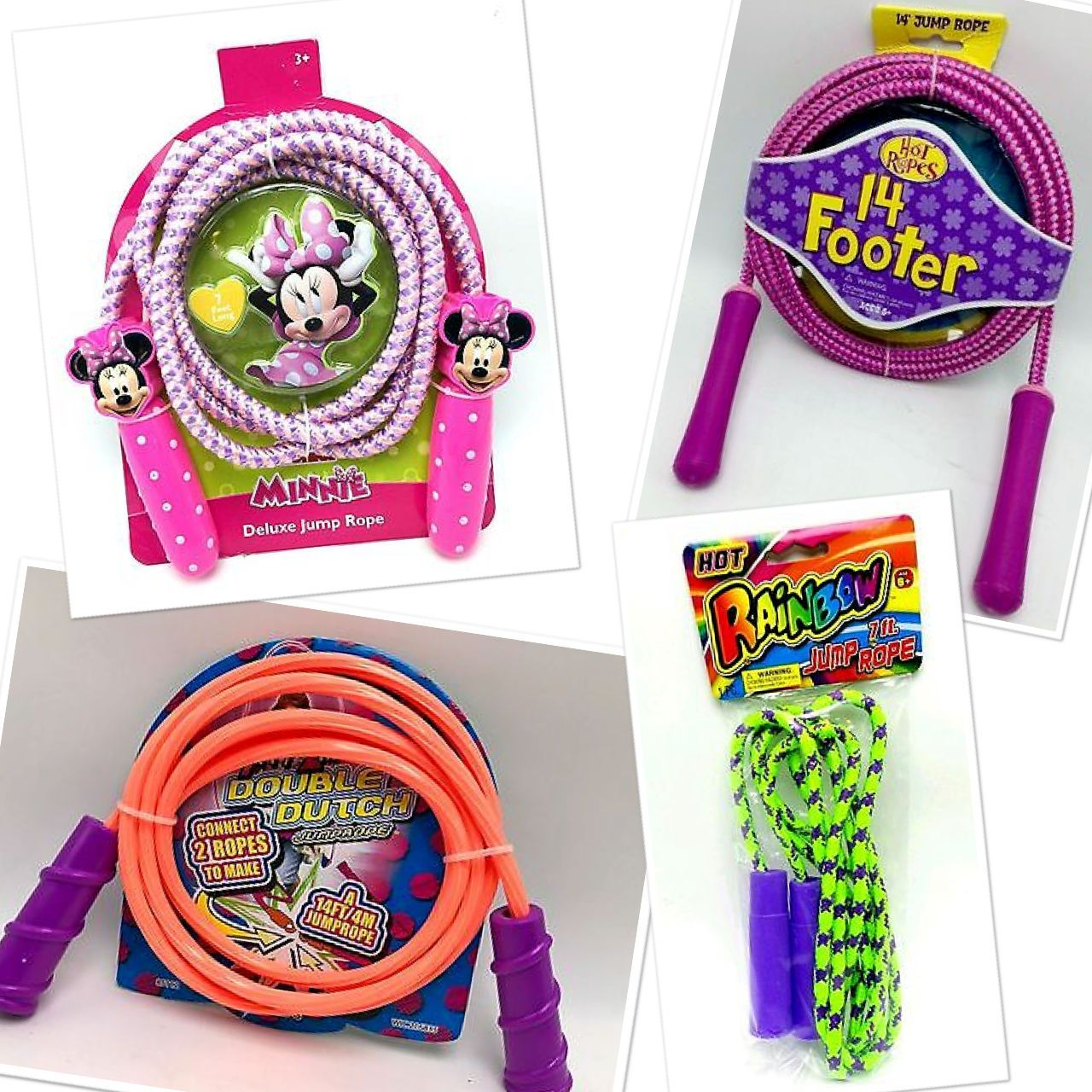 Jump Ropes Sports Plastic Handle 7 ft - 14 ft Skipping Jumping Jump Rope 14 feet Hot Ropes Pink Purple Deluxe Handle Jump Rope Plastic Handle7 ftSkipping Jumping FunFor Girls ages 6+ Disney Minnie Mouse Deluxe Handle Jump Rope New purchased for resale byKeywebco Video inspected during shipping Shipped fast and free from the USA The stock photo may include additional items for display purpose only - which will not be included. Packages may show wear or be opened if the battery is replaced or…