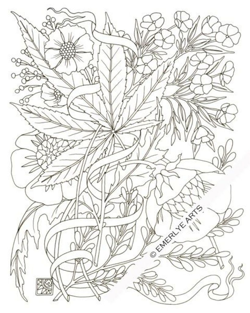 Download Pot Leaf Coloring Pages