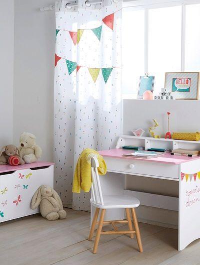 Kinderzimmer Vorhang mit bunten Wimpeln WEIß BEDRUCKT