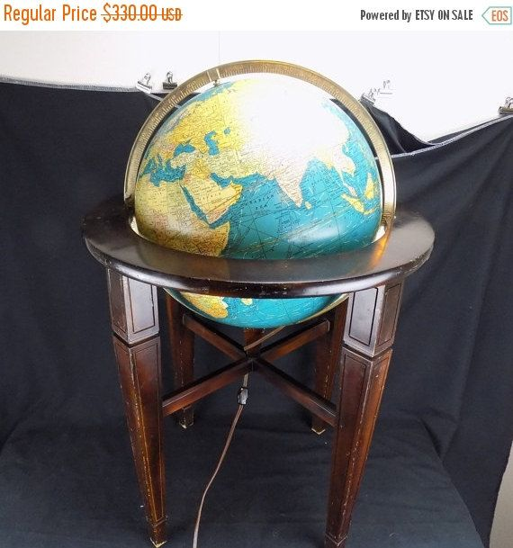 "Save Now Vintage Cram's 16"" Political and Treslestial Lighted Globe on Wood…"