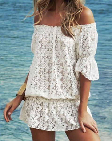 Stylish Slash Collar 3/4 Sleeve Solid Color Lace Women's Dress