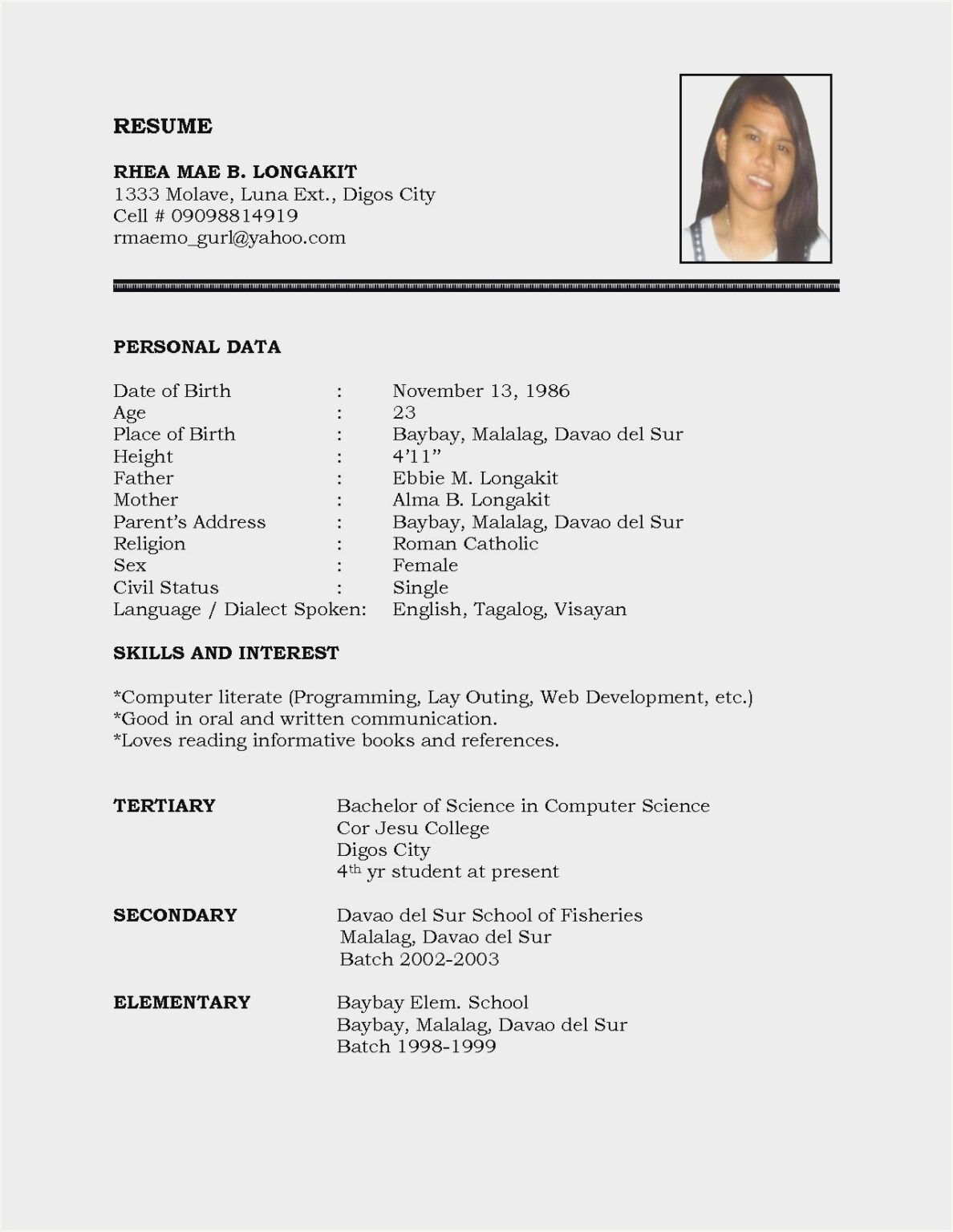 Sample Resume Format Download In Ms Word Resume Resume