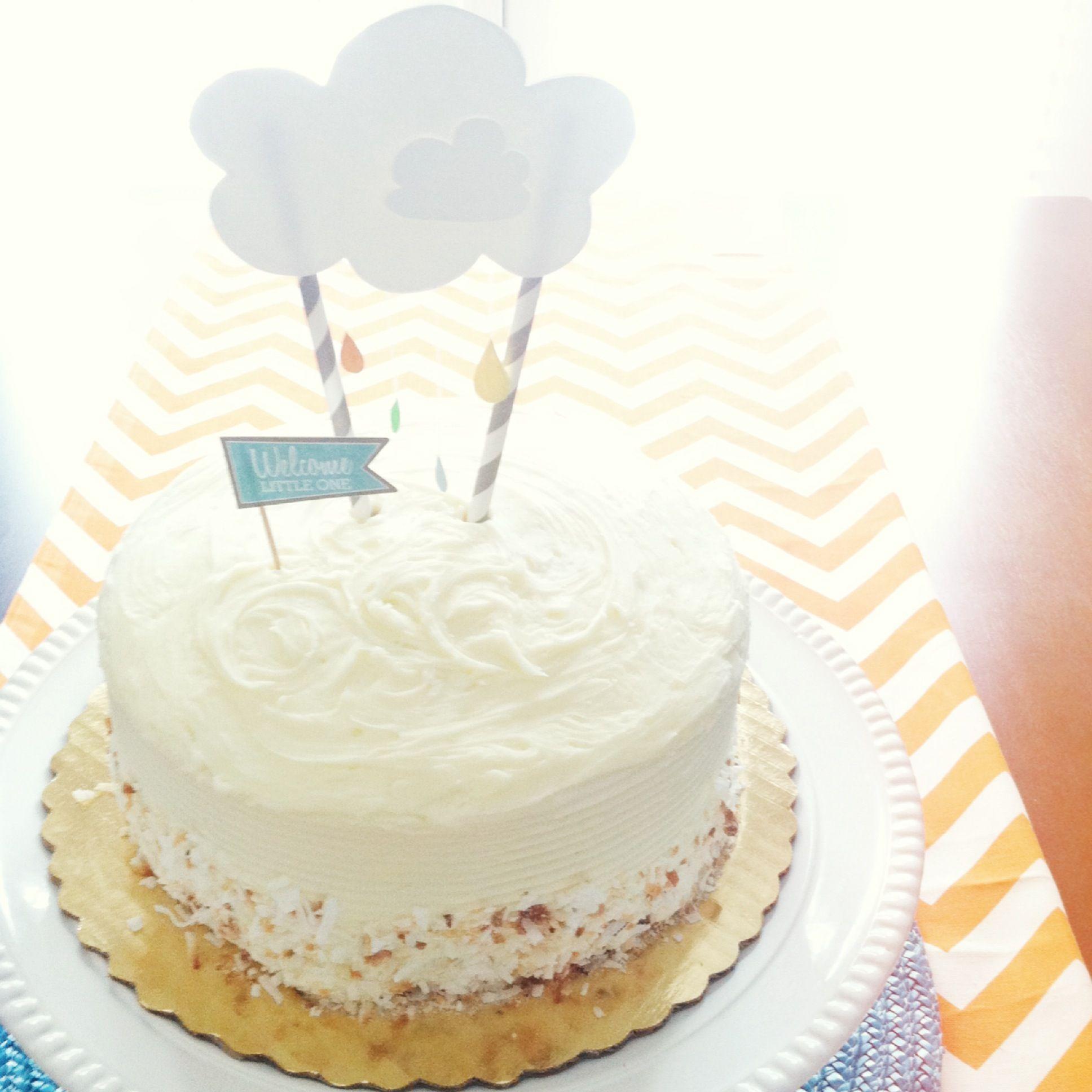 Easy Baby Shower Rain Cloud Cake