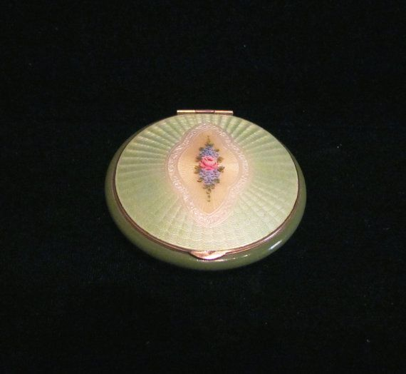 1930s Guilloche Compact Vintage Enamel Powder Rouge Mirror Compact EXCELLENT CONDITION