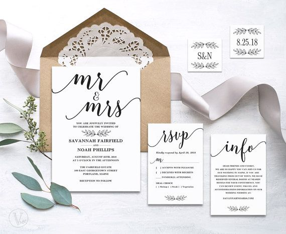 Modern calligraphy wedding invitation printable wedding invitation beautiful wedding invitation set this wedding invitation template set includes five high resolution templates invitation card rsvp card details card stopboris Image collections