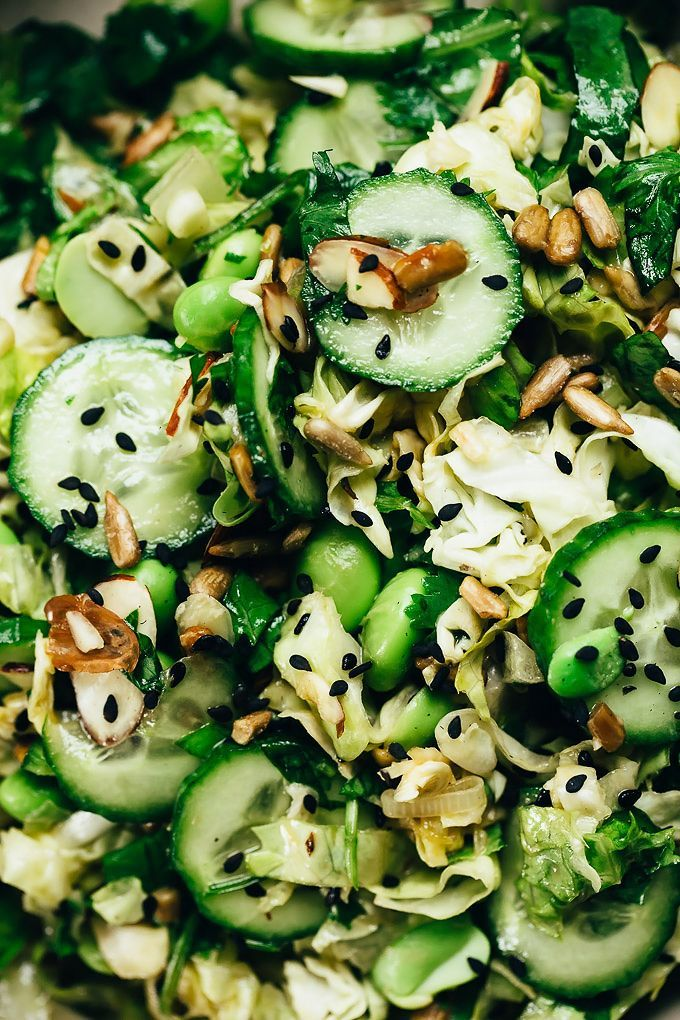 Nutty Green Veggie Crunch Salad | Vegan and fun to eat | Blissful Basil