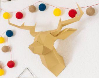 Troph e t te de cerf chevreuil en papier fabriquer diy jaune d co chambre enfant animaux en for Tete de chevreuil decoration