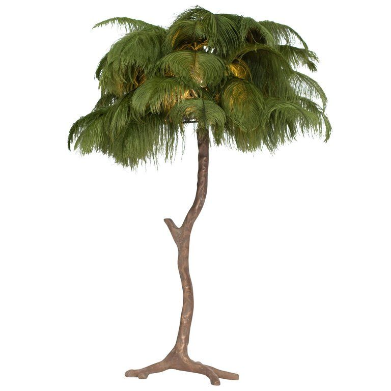 2200 H 33 47 In X Dm 25 99 In Feathered Bronze Tree Lamp From A Unique Collection Of Antique And Modern Table Lamps At Htt Tree Lamp Lamp Small Palm Trees