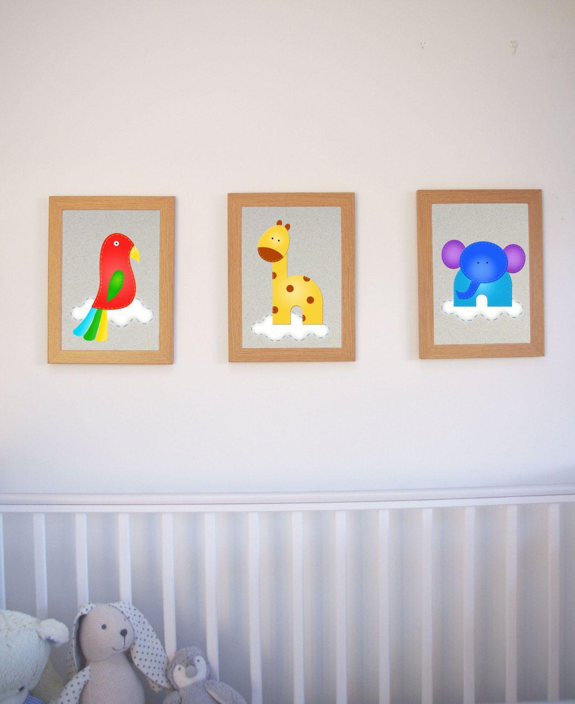 Jungle Animal Wall Art Set Of Prints Playroom Decor Nursery Decor Print Baby Room Unisex Kids Room Colorful Kids Room Art Wall Kids