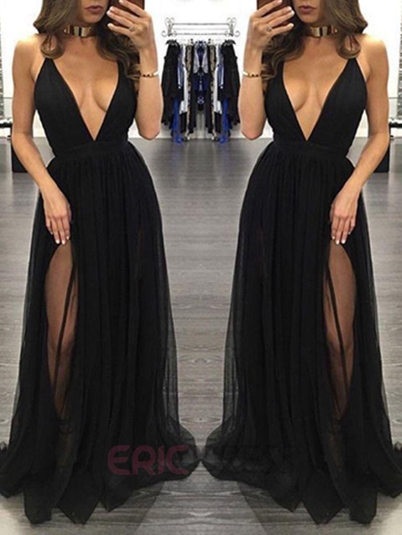 2cee558d7c8 Ericdress Sexy Deep V Neck A Line Split Front Floor Length Evening Dress