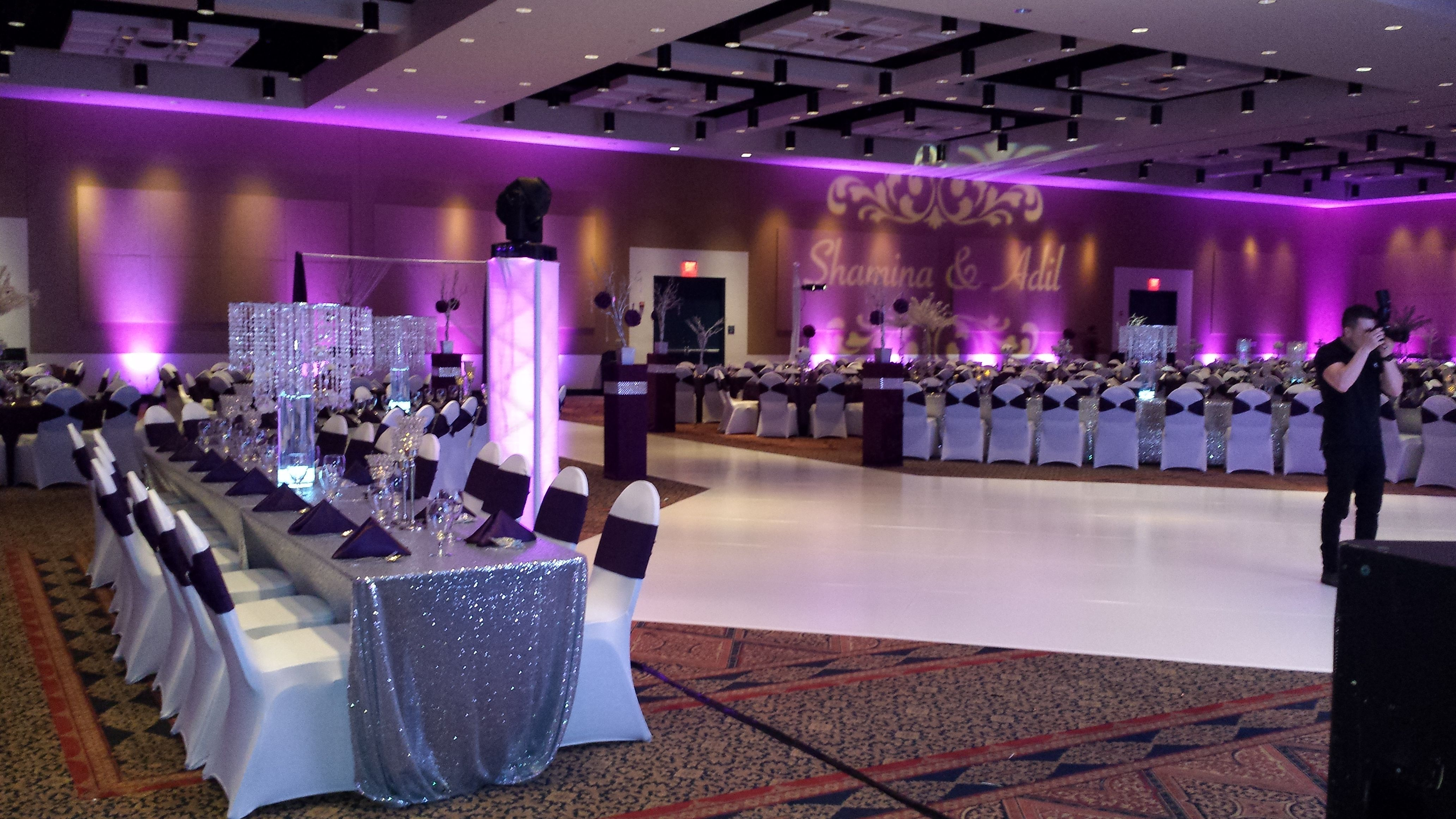 Silver Sequence Table cloth White Spandex Chair cover with Plum
