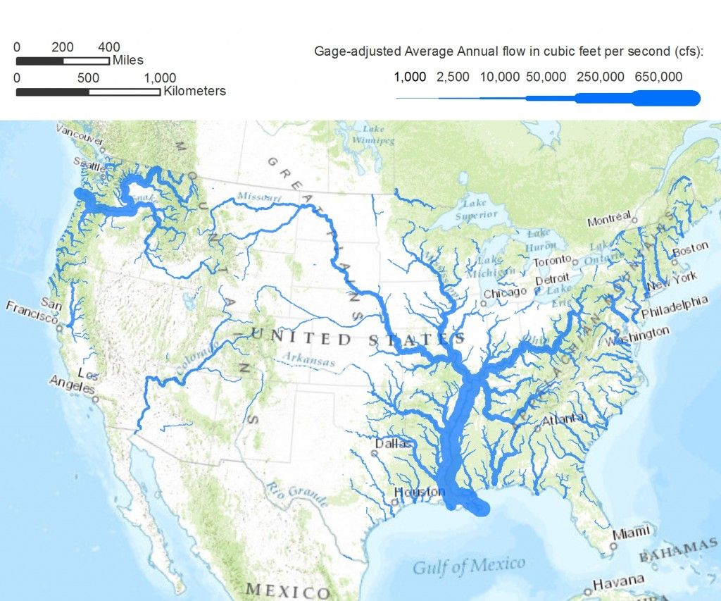 Americanriversgageadjusted Maps History Pinterest - Rivers in the us map