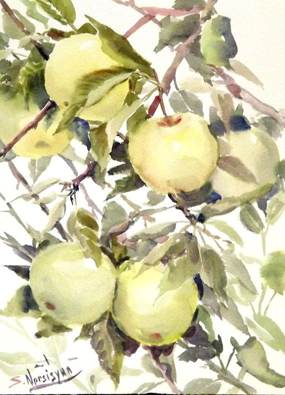 Green Apples, Original watercolor painting, 12 X 9 in, fruits art ...