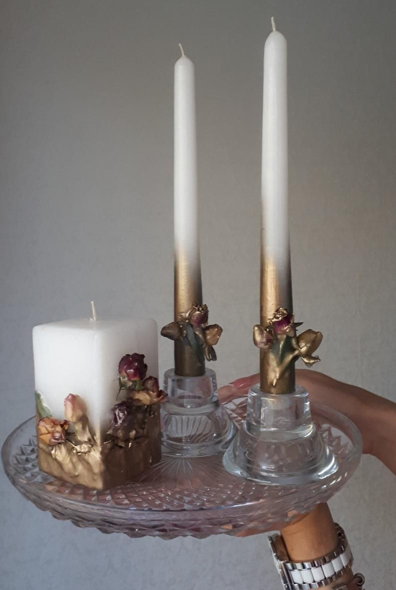 Gold unity candle set with roses wedding candles dried