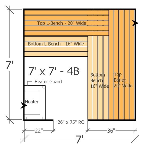 7x7 sauna layout with 4 benches plenty of space and room for Sauna layouts floor plans