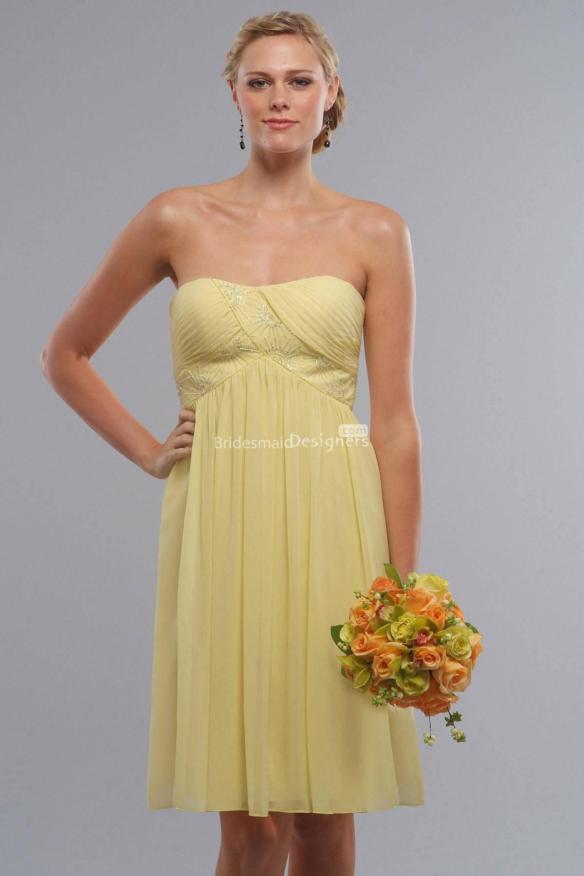 Cute yellow sleeveless sweetheart empire short beaded pleated