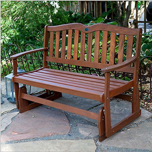 Loveseat Glider Chair In Solid Eucalyptus Wood Outdoor Garden Or Patio Furniture 4 Ft Wide Americ Outdoor Glider Outdoor Glider Chair Wooden Bench Outdoor