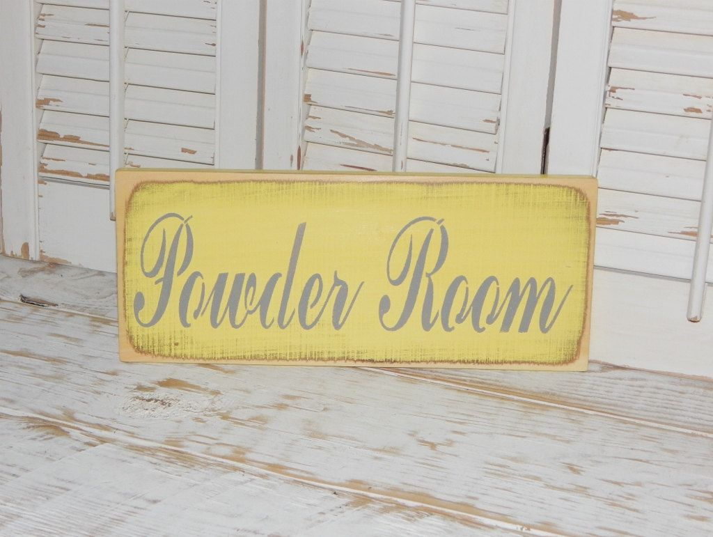 Bathroom Sign Powder Room Sign Wall Decor Country Home Decor Signs ...