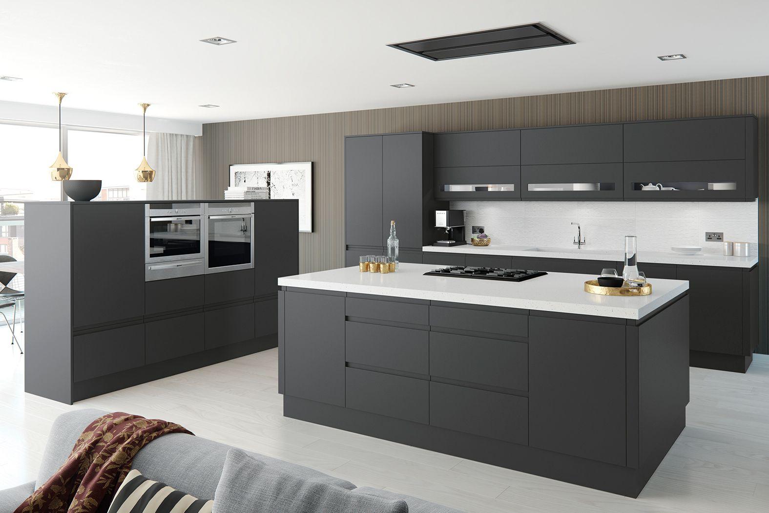 Cheap Kitchens Discount Kitchens For Sale Online Cheap Kitchen Cabinets Matt Anthracite The Rich Dark Ton Handleless Kitchen Kitchen Units Kitchen Design