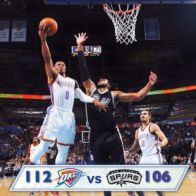 Thunder vs Spurs opening game of the 2015-16 season. In OKC!!! Thunder WIN!!