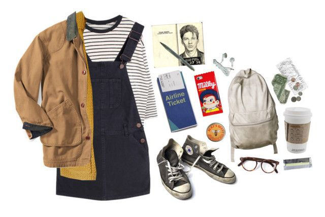 """""""a day at the airport"""" by cosmicgal ❤ liked on Polyvore featuring Burt's Bees, Converse, Cutler and Gross and Moleskine"""