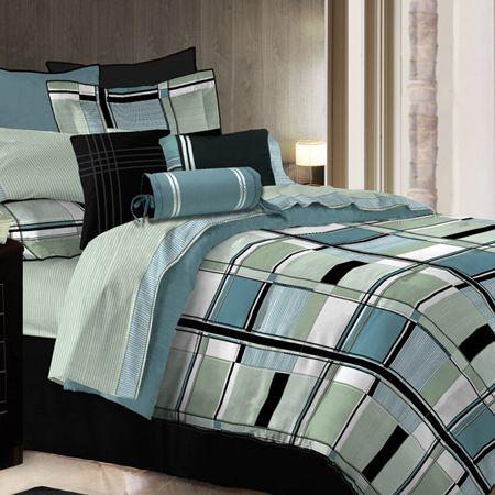 Contemporary Comforter Sets Queen Bedding Black White
