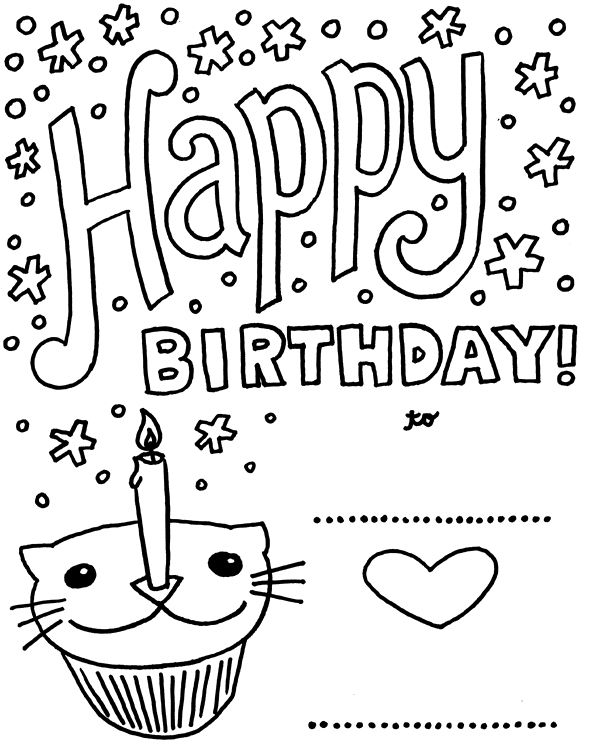 Birthday Card With Pictures Cat Cupcake Coloring Pages  Coloring
