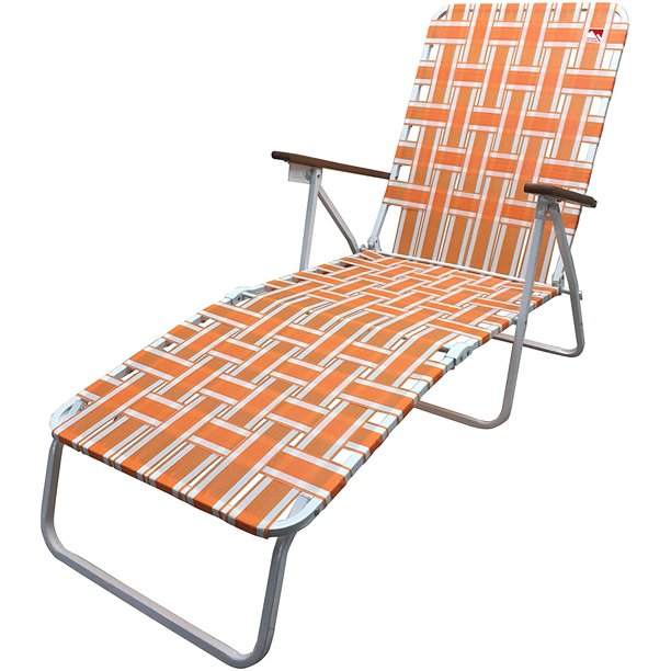 Outdoor Spectator Classic Webbed Folding Chaise Lounger Camp Lawn Chair Orange Walmart Com Lawn Chairs Chaise Lounger Lounger