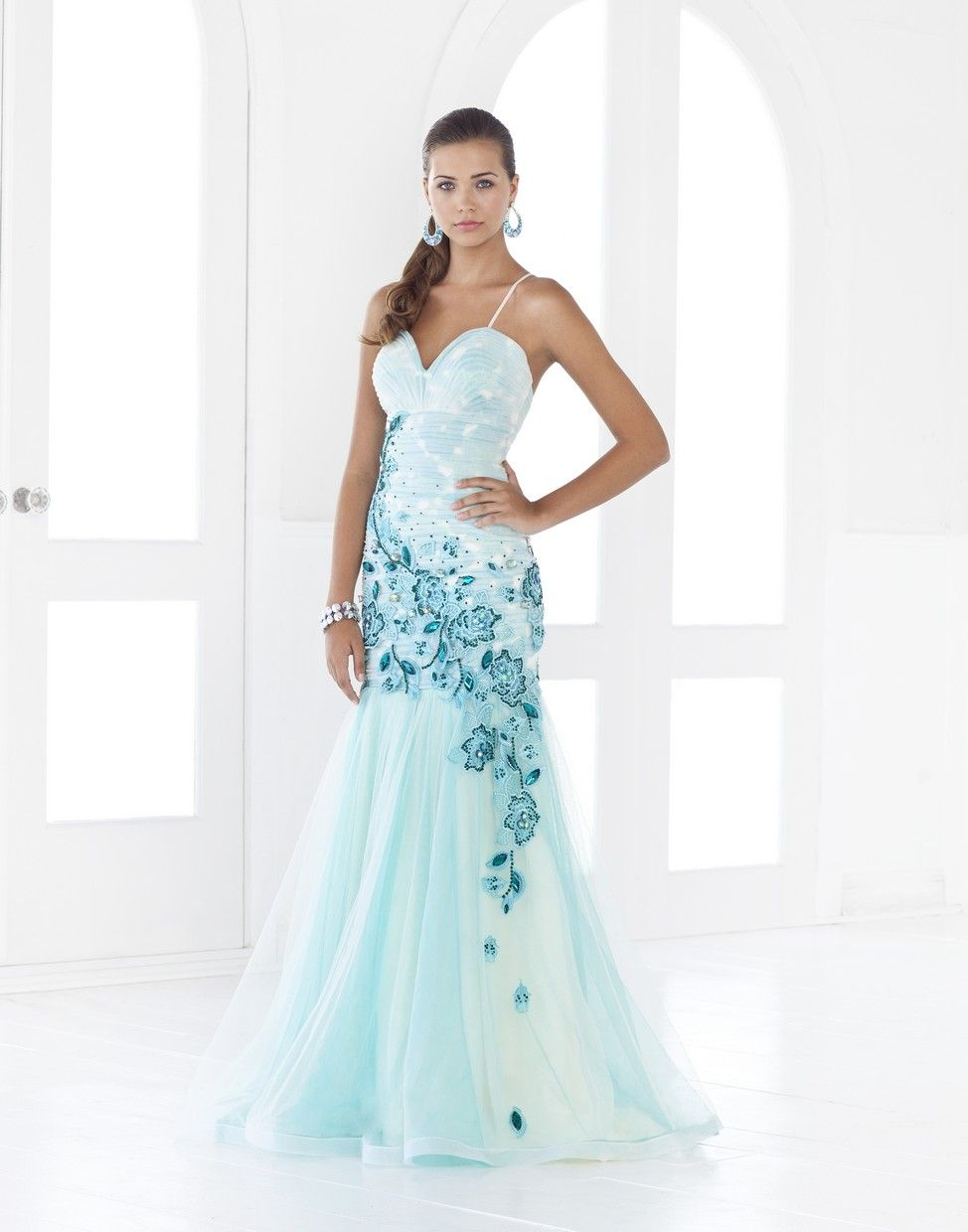 teal dresses for wedding 00 Blush Dress Sophisticated Ombre Tulle Gown Teal wedding dress with teal blue embroidery