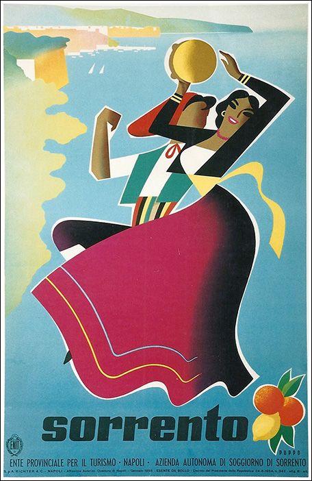 1955 Sorrento, Naples, Italy vintage travel poster | posters Italia ...