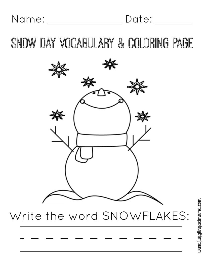 Snow Day Printable Pack Craft Activities For Kids Coloring