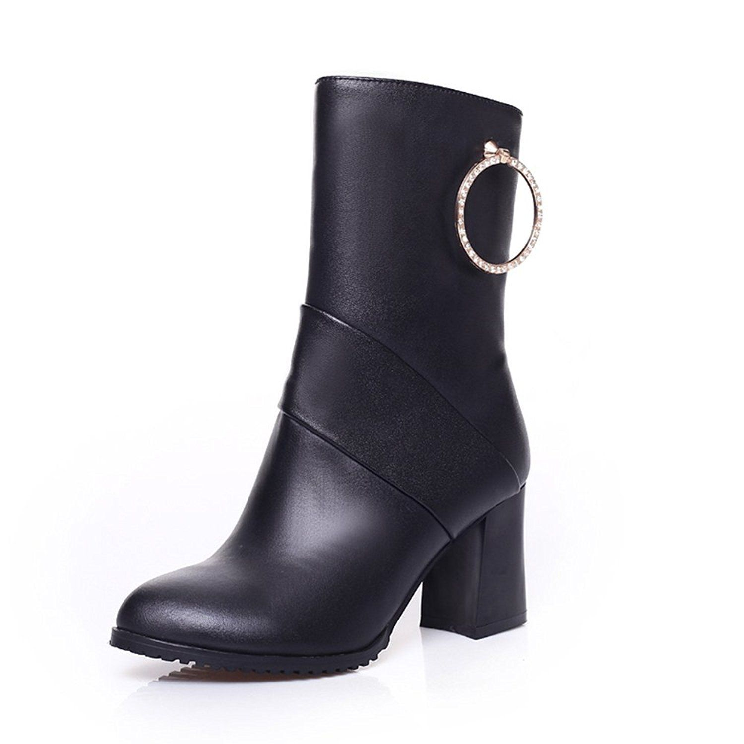 Women's Unique Mid Chunky Heel Round Toe Buckle Ankle High Boots With Side Zipper