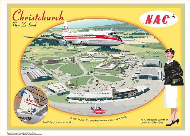 NAC Christchurch Airport New Zealand Postcard by Contour Creative Studio, via Flickr